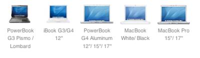 Powerbook G3 Pismo, iBook G3/G4 12, PowerBook G4 Aluminium, MacBook White/Black, MacBook Pro