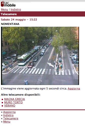 Telecamera del Traffico Porta Pia dal Sito atacmobile.it