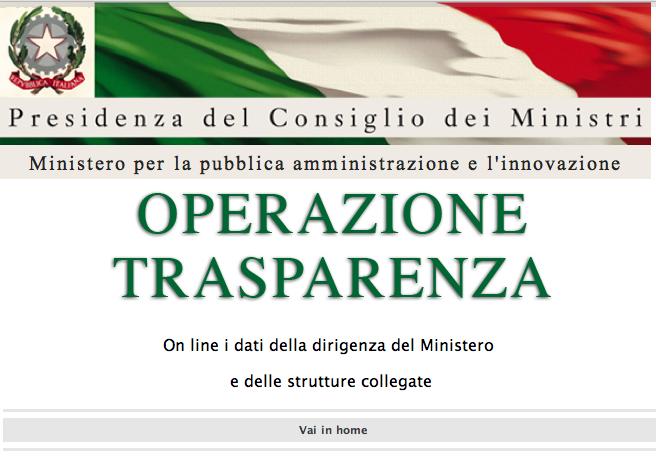 Operazione Trasparenza al Ministero della Funzione Pubblica