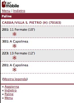 Situazione Linee ATAC alla fermata Cassia Villa S.Pietro