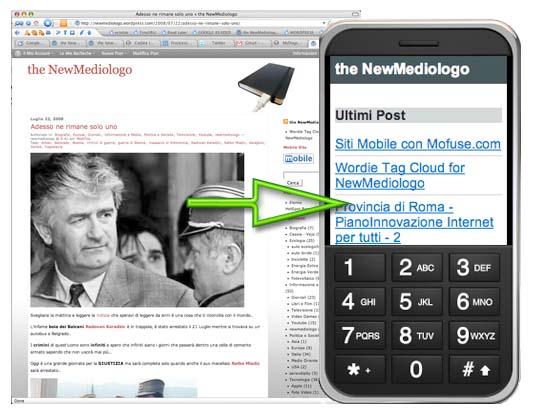 Trasferire i contenuti del blog su sito mobile creato con Mofuse