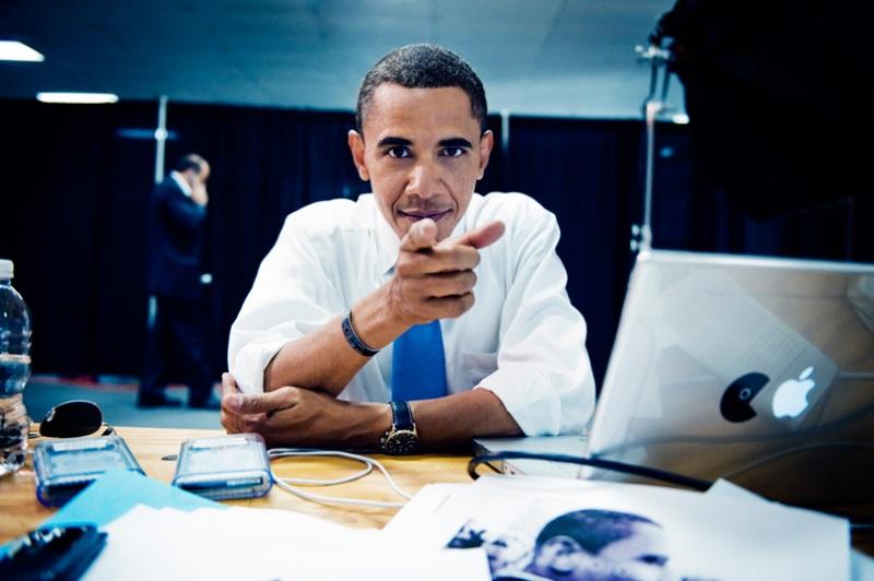 Barack Obama ed il suo MacBook Pro con PacMan